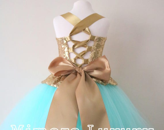 Mint & Gold Flower Girl Dress, mint bridesmaid dress, couture flower girl gown, bespoke girls dress, tulle princess dress, Gold sequin dress