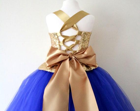 Gold & Royal Blue Flower Girl Dress, Gold bridesmaid dress, Gold couture flower girl gown, bespoke girls dress, Gold tulle princess dress