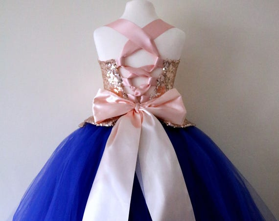 Rose Gold & Royal Blue Flower Girl Dress, Rose Gold bridesmaid dress, couture flower girl gown, bespoke girls dress, tulle princess dress