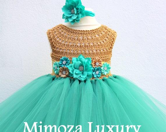 Teal green & Gold Flower girl dress, teal green tutu dress, bridesmaid dress, princess dress, silver crochet top teal green tulle dress