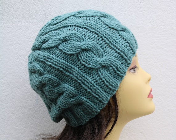 Pastel Green women Beanie hat, Hand Knitted Hat in pastel green beanie hat, knitted men's, women's beanie hat, winter beanie, green ski hat