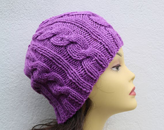 Lilac women's Beanie hat, Hand Knitted Hat in lavender beanie hat cap, knitted men's, women's beanie hat, winter beanie, purple ski hat