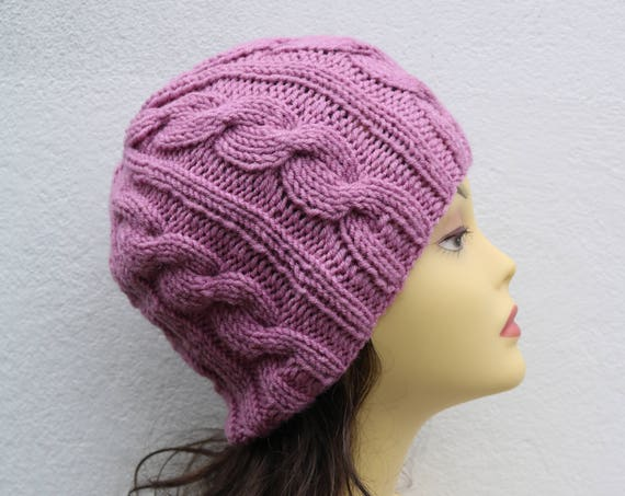 Dusky Pink women's Beanie hat, Hand Knitted Hat in mauve rose beanie hat cap, knitted men's, women's beanie hat, winter beanie, rose ski hat
