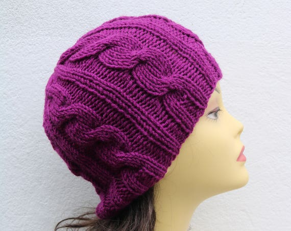 Violet women's Beanie hat, Hand Knitted Hat in violet beanie hat cap, knitted men's, women's beanie hat, winter beanie, purple ski hat