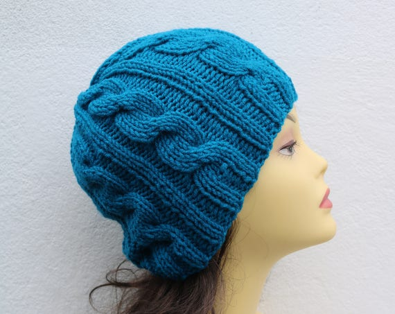 Petrol Blue women's Beanie hat, Hand Knitted Hat in teal blue beanie hat, knitted men's, women's beanie hat, winter beanie hat, blue ski hat