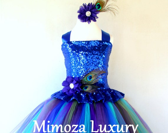 Peacock Girl Dress, royal blue sequin peacock dress, pageant peacock dress