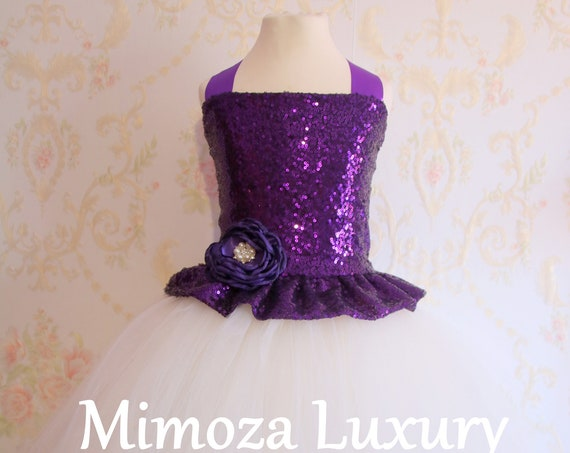 Purple Ivory Flower Girl Dress, Purple bridesmaid dress, couture flower girl gown, bespoke girls dress, tulle princess dress, Purple gown