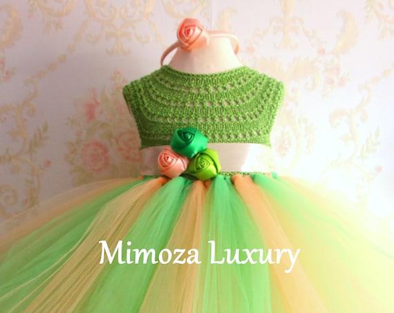 Green/Peach girls dress