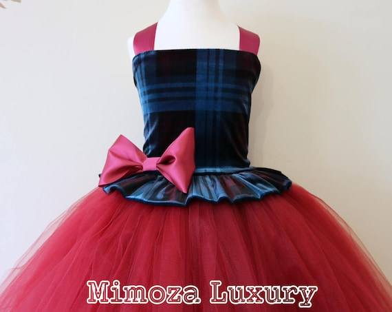 Tartan velvet Burgundy Flower Girl Dress, burgundy bridesmaid dress, tartan flower girl gown, bespoke girls dress, tulle princess dress