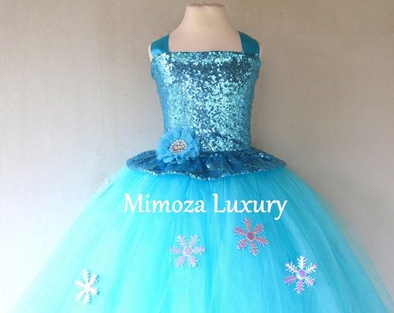 Luxury Elsa Dress, frozen blue birthday sequin dress