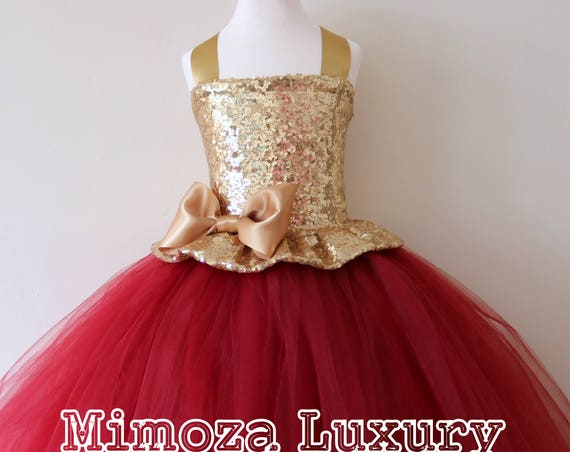 Gold Burgundy Flower Girl Dress, gold bridesmaid dress, couture flower girl gown, bespoke girls dress, tulle princess dress, gold wine tutu