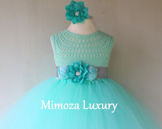 Mint Flower girls Dress
