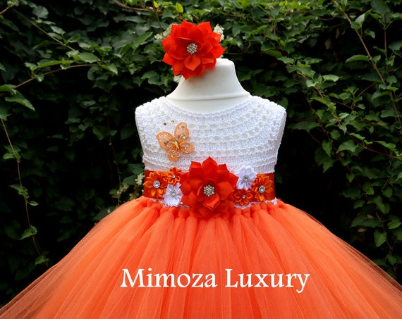 Orange Flower girl dress, orange Birthday dress, girl orange tutu dress, infant orange dress, orange princess dress, handmade tutu dress