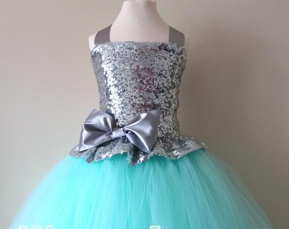Mint & Silver Sequin Flower Girl Dress, mint green bridesmaid dress, flower girl gown, bespoke girls dress, tulle princess dress, mint dress
