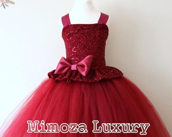 Burgundy Flower Girl Dress, burgundy bridesmaid dress, couture flower girl gown, bespoke girls dress, tulle princess dress, wine tutu