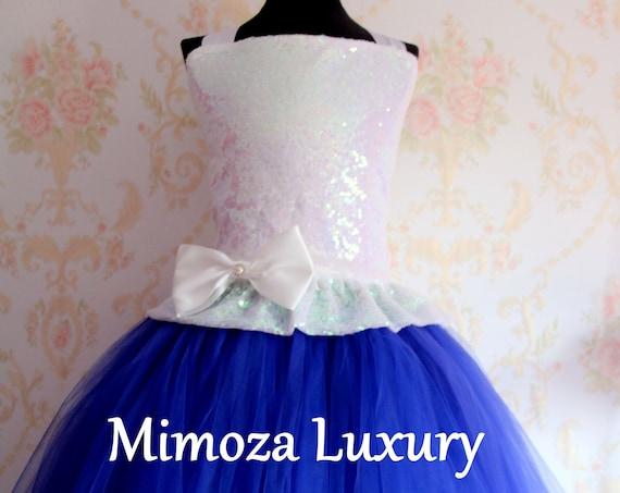 White & Royal Blue flower girl dress, white sequin bridesmaid dress