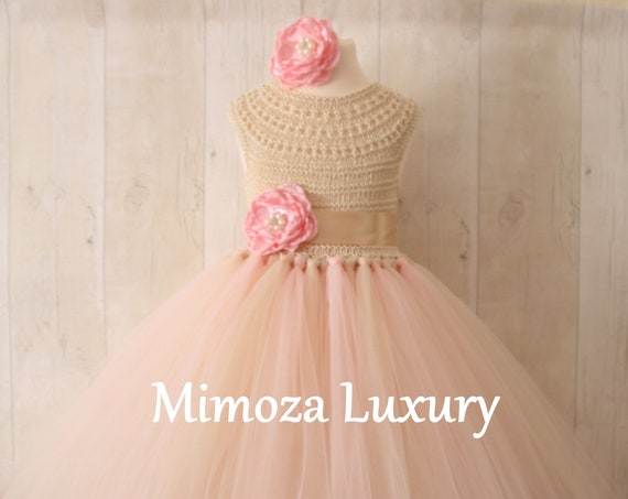 Blush & Champagne Flower Girl Dress, blush champagne christening dress, blush cream baptism dress, cream first communion dress, champagne