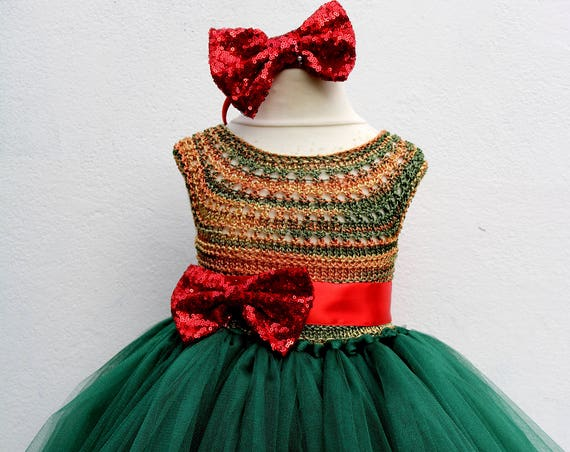 Christmas tutu dress, Christmas eve dress, Christmas green elf tutu dress, red green princess dress, emerald crochet top tulle dress