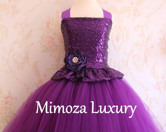 Purple Flower Girl dress, purple tulle princess dress, made to measure
