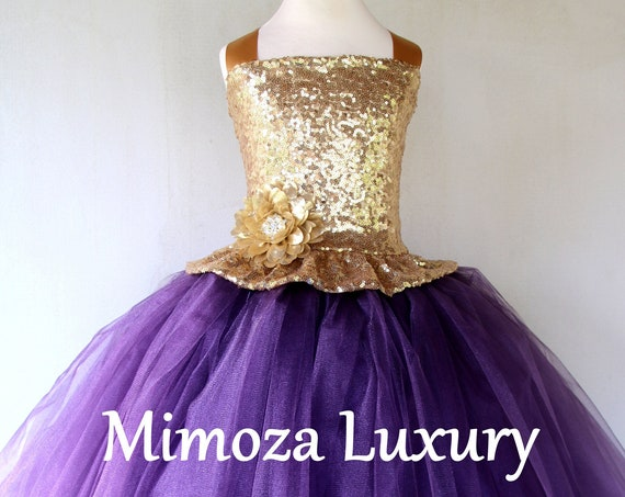 Gold Aubergine Flower girl dress, luxury gold sequins aubergine tulle dress
