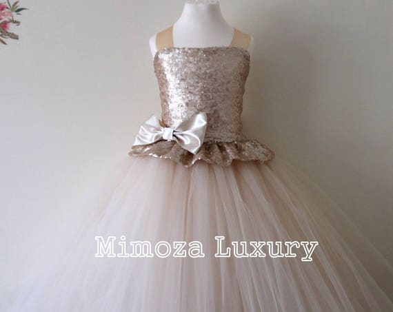 Champagne Flower Girl Dress, champagne girls dress, champagne birthday dress, champagne bridesmaid dress, champagne tulle wedding dress
