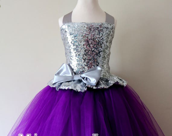 Purple & Silver Sequin Flower Girl Dress, Purple bridesmaid dress, flower girl gown, bespoke girls dress, tulle princess dress, Purple dress