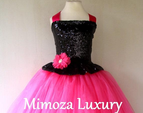 Hot pink & Black sequins Girls Dress, hot pink princess dress