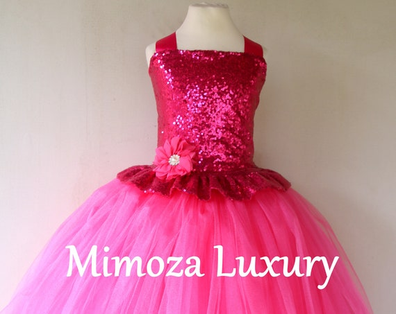Fuchsia sequins Girls Dress, hot pink princess dress