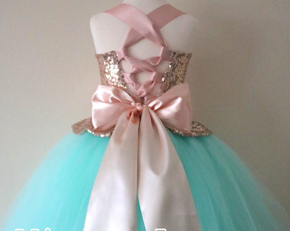 Mint & Rose Gold Flower Girl Dress, mint bridesmaid dress, couture flower girl gown, bespoke girls dress, tulle princess dress, sequin dress