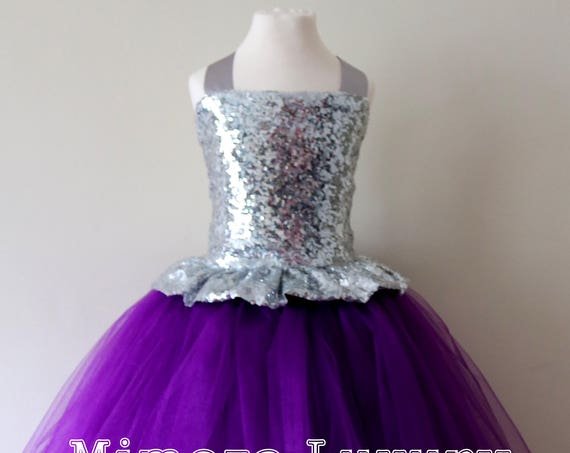 Purple & Silver Sequin Flower Girl Dress, silver bridesmaid dress, couture flower girl gown, bespoke girls dress,purple tulle princess dress