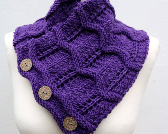 Womens Winter Hand Knitted Scarf, wool neck warmer