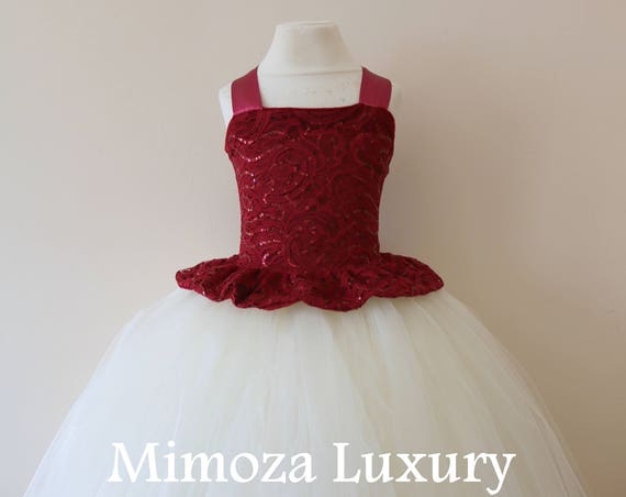 Burgundy Flower Girl Dress, burgundy bridesmaid dress, couture flower girl gown, bespoke girls dress, tulle princess dress, ivory tutu