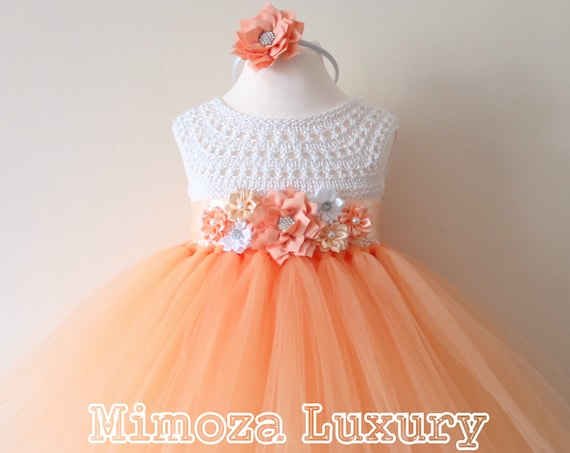 Peach Flower girl dress, peach tulle girl dress, peach birthday dress, peach 1st birthday dress. peach wedding tulle dress, peach girls tutu