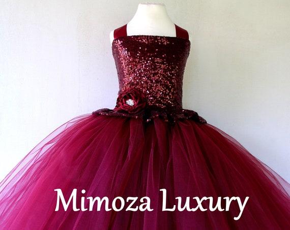 Burgundy sequins Flower Girl Dress, burgundy tulle bridesmaid dress, bespoke girls dress, tulle princess dress, burgundy tutu