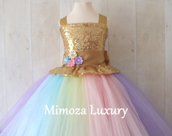 Luxury Unicorn Birthday Dress, gold unicorn tutu dress, rainbow unicorn girls dress, sequins unicorn dress, gold unicorn dress, 1st birthday