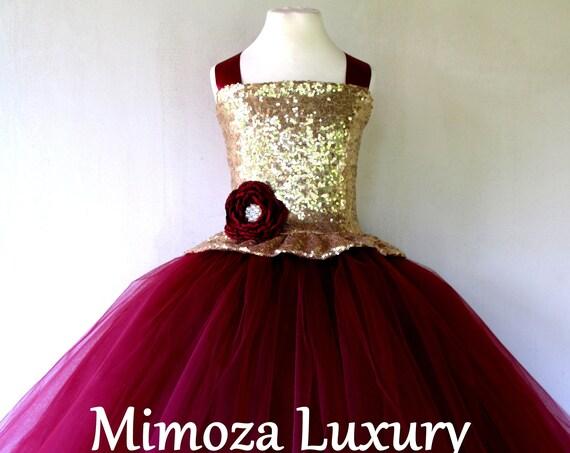 Gold Burgundy tulle Flower Girl Dress, gold bridesmaid dress, couture flower girl gown, bespoke girls dress, tulle princess dress