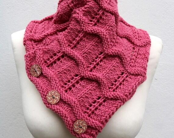 Baroque Rose Merino Wool Hand Knitted Scarf, Knit scarf wrap rose Scarf, Shawl, Wrap, Neck warmer, knit scarf, rose pink women's knit scarf