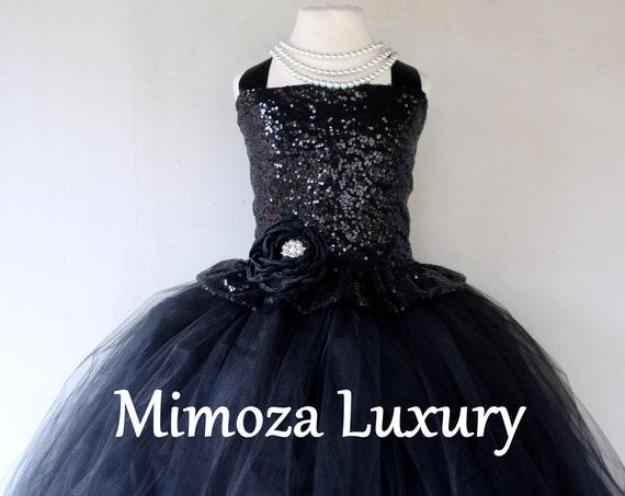 Black Sequins Flower girl dress, black tulle bridesmaid dress