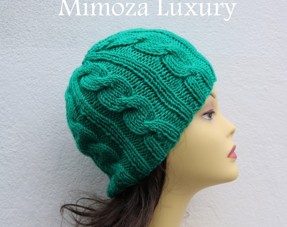Emerald Green women's Beanie hat, Hand Knitted Hat in jade green beanie hat, knitted men's, women's beanie hat, winter beanie, green ski hat