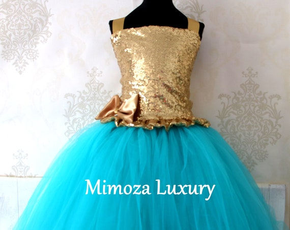 Teal & Gold Sequin Flower Girl Dress, teal green bridesmaid dress, flower girl gown, bespoke girls dress, tulle princess dress, teal dress