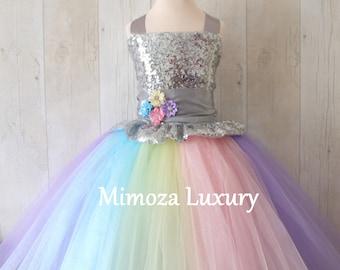 97d9f6b01a31 Luxury Unicorn Birthday Dress, unicorn tutu dress, rainbow unicorn girls  dress, sequins unicorn dress, silver unicorn dress, 1st birthday