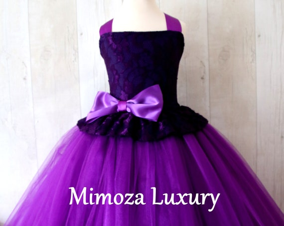 Purple Flower Girl Dress, Purple bridesmaid dress, purple flower girl gown, bespoke girls dress, tulle princess dress, Purple girl dress
