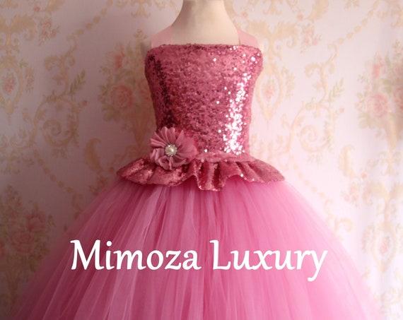 Dusky Pink sequins Girls Dress, mauve pink flower girl dress