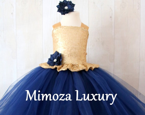 Gold & Navy Blue Flower Girl Dress, Gold sequin bridesmaid dress, Gold flower girl gown, bespoke girls dress, Navy tulle princess dress