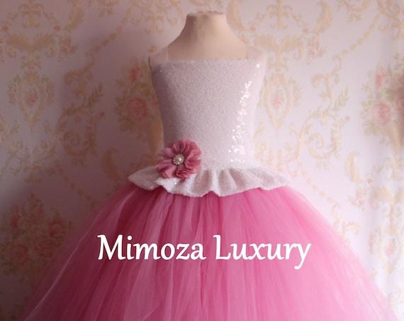 Dusky Pink & White sequins Girls Dress, mauve pink flower girl dress