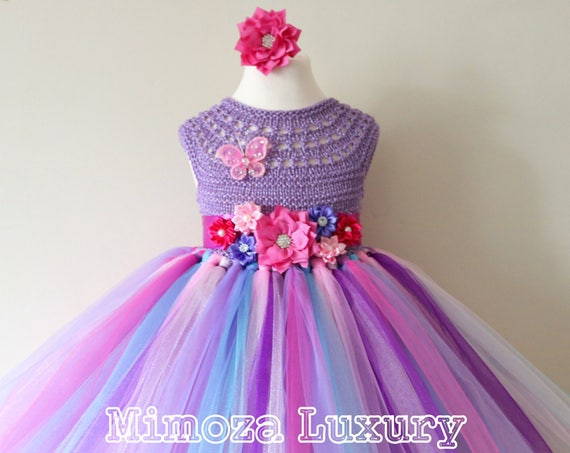 Lilac Pink Girls Birthday Dress, tulle girls dress