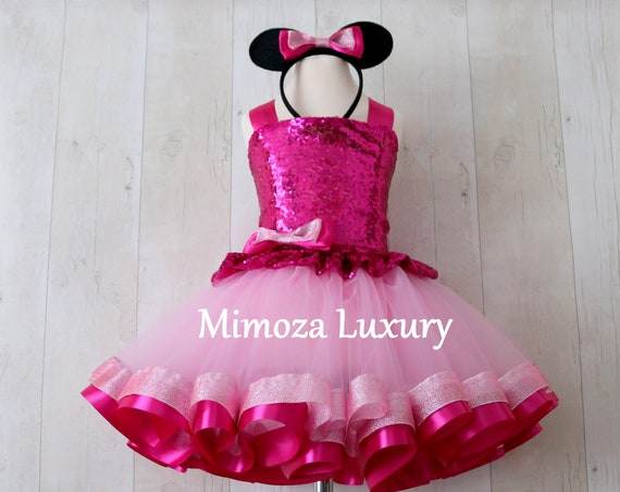 Luxury Pink Minnie Mouse Outfit, pink minnie mouse birthday dress, fuchsia tutu princess dress, 1st birthday outfit, pink infant dress