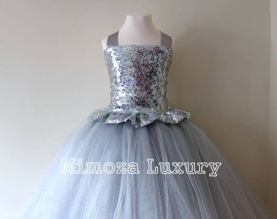 Silver Sequin Flower Girl Dress, silver bridesmaid dress, couture flower girl gown, bespoke girls dress, tulle princess dress, silver tutu