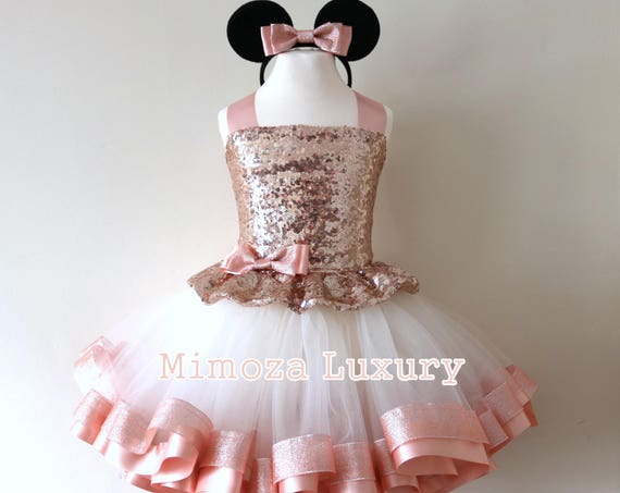 Luxury Rose Gold Minnie Mouse Outfit, rose gold minnie mouse birthday dress, rose gold tutu princess dress, minnie mouse tutu dress outfit