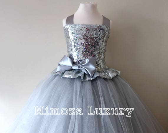 Silver Sequin Flower Girl Dress, silver sequin bridesmaid dress, flower girl gown, bespoke girls dress, tulle princess dress, silver dress